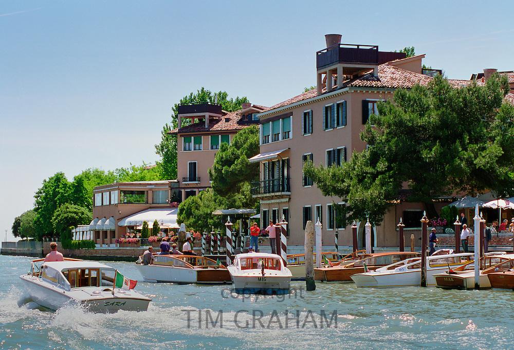 Hotel Cipriani and private dock on Giudecca Island, in Venice, Italy