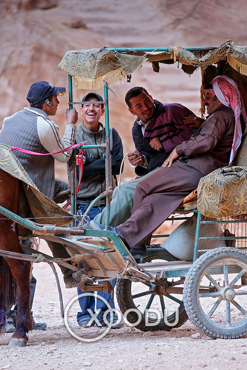 Locals relax in horse-drawn cart, Petra, Jordan (December 2007)