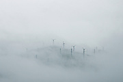 Dublin, California, USA, 20070210: A Wind Farm covered in fog in the Altamont Pass in Dublin. Photo: Orjan F. Ellingvag/ Dagens Naringsliv/ Corbis