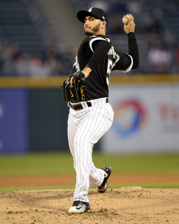 CHICAGO - APRIL 24:  Miguel Gonzalez #58 of the Chicago White Sox pitches against the Kansas City Royals on April 24, 2017 at Guaranteed Rate Field in Chicago, Illinois.  The White Sox defeated the Royals 12-1.  (Photo by Ron Vesely)   Subject:  Player Miguel Gonzalez