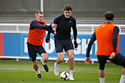 James Ward-Prowse (Southampton) and Harry Maguire (Leicester City)  during the England training session ahead of the UEFA Euro Qualifier against the Czech Repulbic, at St George's Park National Football Centre, Burton-Upon-Trent, United Kingdom on 19 March 2019.