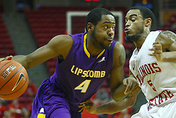 19 November 2011: Deonte Alexander works against Anthony Cousin during an NCAA mens basketball game between the Lipscomb Bison and the Illinois State Redbirds in Redbird Arena, Normal IL