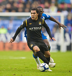 WIGAN, ENGLAND - Sunday, October 18, 2009: Manchester City's Carlos Tevez during the Premiership match against Wigan Athletic at the JJB Stadium. (Pic by David Rawcliffe/Propaganda)