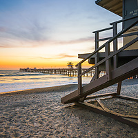 San Clemente lifeguard tower one and pier sunset photo. San Clemente is a popular beach city in Orange County Southern California in the United States of America. Copyright ⓒ 2017 Paul Velgos with all rights reserved.