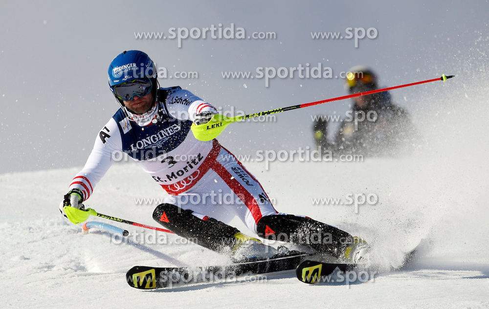 13.02.2017, St. Moritz, SUI, FIS Weltmeisterschaften Ski Alpin, St. Moritz 2017, alpine Kombination, Herren, Slalom, im Bild Romed Baumann (AUT) // Romed Baumann of Austria in action during his run of Slalom competition for the men's Alpine combination of the FIS Ski World Championships 2017. St. Moritz, Switzerland on 2017/02/13. EXPA Pictures &copy; 2017, PhotoCredit: EXPA/ Sammy Minkoff<br /> <br /> *****ATTENTION - OUT of GER*****