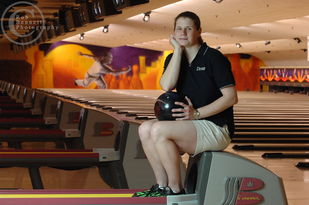 Last year, Kelly Kulick became the first woman to earn a full-season exemption on the Denny's Professional Bowlers Association Tour. Kulick, 30-years old and from Union, NJ, is seen here posing for a portrait after practice at Jersey Lanes in Linden. Kulick is preparing for Tour Trials on May 29 where she will attempt to repeat her historic feat and re-qualify for the Tour. ..CREDIT: Rob Bennett for The NY Times