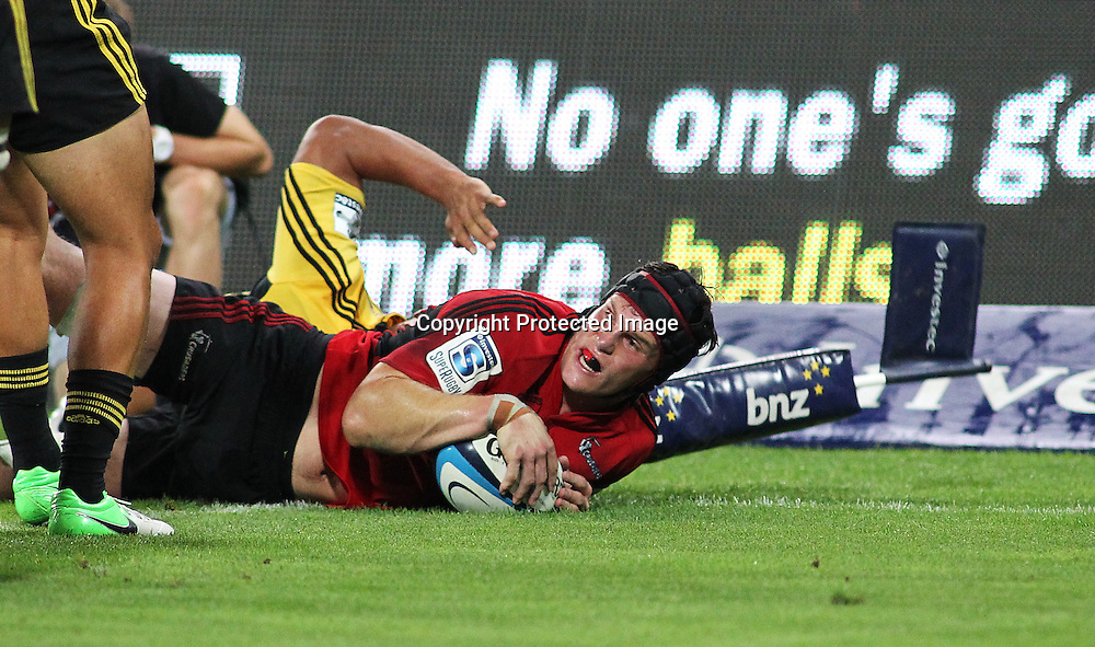 Crusaders' Matt Todd dives over for a try which is disallowed during Super Rugby match, Hurricanes V Crusaders at Westpac Stadium, Wellington, Friday 8 March 2013. Photo.: Grant Down / photosport.co.nz