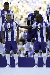 July 28, 2018 - Porto, Porto, Portugal - Porto's Uruguayan defender Maxi Pereira (L) and Porto's Algerian forward Yacine Brahimi (R) during the Official Presentation of the FC Porto Team 2018/19 match between FC Porto and Newcastle, at Dragao Stadium in Porto on July 28, 2018. (Credit Image: © Dpi/NurPhoto via ZUMA Press)