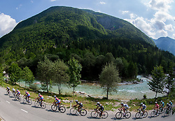 Peloton at Soca river during Stage 3 from Skofja Loka to Vrsic (170 km) of cycling race 20th Tour de Slovenie 2013,  on June 15, 2013 in Slovenia. (Photo By Vid Ponikvar / Sportida)