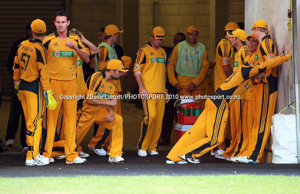 The Australian team prepares to take the field.<br /> 1st Twenty20 cricket match - New Zealand v Australia at Westpac Stadium, Wellington. Friday, 26 February 2010. Photo: Dave Lintott/PHOTOSPORT