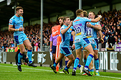 James Short of Exeter Chiefs hands off Darren Atkins of Bath Rugby to score his sides first try of the game - Mandatory by-line: Ryan Hiscott/JMP - 03/11/2018 - RUGBY - Sandy Park Stadium - Exeter, England - Exeter Chiefs v Bath Rugby - Premiership Rugby Cup