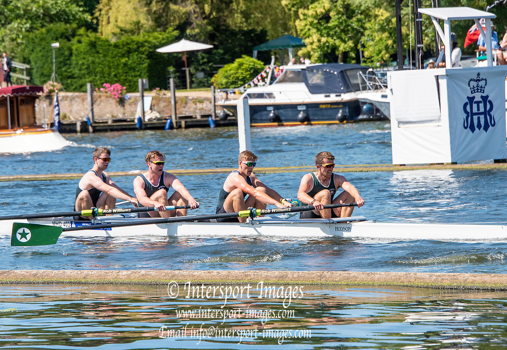 Henley on Thames, England, United Kingdom, 4th July 2019, Henley Royal Regatta, The Wyfold Challenge Cup, Maidenhead RC., passing the one mile and one eight barrier,  Henley Reach, [© Peter SPURRIER/Intersport Image]<br /> <br /> 11:27:00 1919 - 2019, Royal Henley Peace Regatta Centenary,