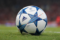 16.09.2015, Karaiskakis Stadium, Piräus, GRE, UEFA CL, Olympiakos Piräus vs FC Bayern München, Gruppe F, im Bild Spielball, Fussball // during UEFA Champions League group F match between Olympiacos F.C. and FC Bayern Munich at the Karaiskakis Stadium in Piräus, Greece on 2015/09/16. EXPA Pictures © 2015, PhotoCredit: EXPA/ Eibner-Pressefoto/ Kolbert<br /> <br /> *****ATTENTION - OUT of GER*****
