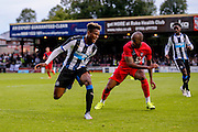 Anthony Straker nicks the ball from Rolando Aarons during the Pre-Season Friendly match between York City and Newcastle United at Bootham Crescent, York, England on 29 July 2015. Photo by Simon Davies.