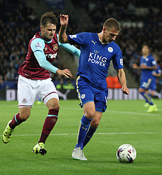 Carl Jenkinson of West Ham United (L) and Marc Albrighton of Leicester City in action  - Mandatory byline: Jack Phillips/JMP - 07966386802 - 22/09/2015 - SPORT - FOOTBALL - Leicester - King Power Stadium - Leicester City v West Ham United - Capital One Cup Round 3
