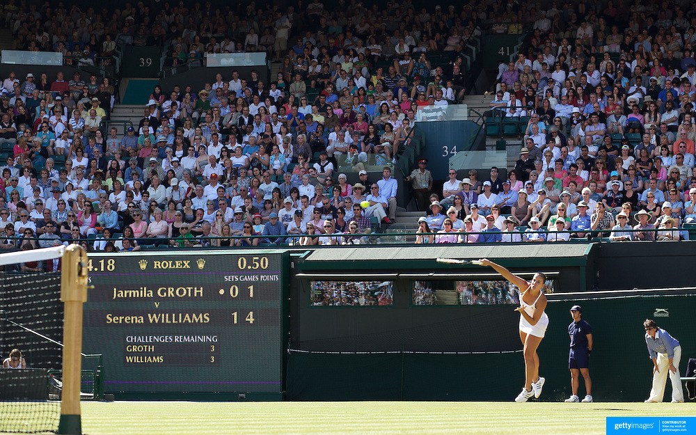 Jarmila Groth, Australia, in action against Serena Williams, USA,  at the All England Lawn Tennis Championships at Wimbledon, London, England on Wednesday, June 24, 2009. Photo Tim Clayton.