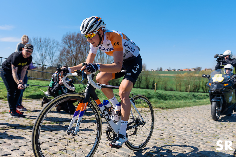 Thalita de Jong builds a sizeable gap solo - Women's Ronde van Vlaanderen 2016. A 141km road race starting and finishing in Oudenaarde, Belgium on April 3rd 2016.