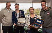 Putney-Chiswick.  Greater  London, UK. Left, prize giver left, Sir Steven REDGRAVE and 2015 Wingfield Sculls Race winner Tim RICHARDS, centre right, Mathilda HODGKINS-BYRNE, winner Women's Wingfield Sculls and prize giver, Greg SEARLE. MBE. prize giving at the Tideway Scullers School, Boathouse.            Championship Course, River Thames  Thursday  12/11/2015 <br /> <br /> [Mandatory Credit: Peter SPURRIER: Intersport Images]