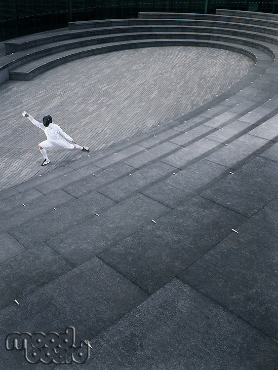 Fencer practising in the Scoop amphitheatre London England elevated view