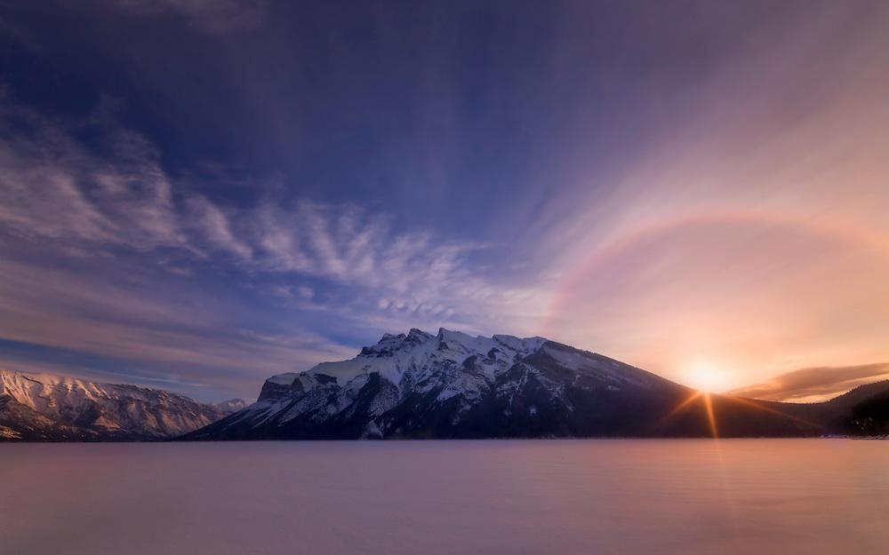 Sunrise in Winter atLake Minnewanka, Banff National Park, Alberta, Cananda