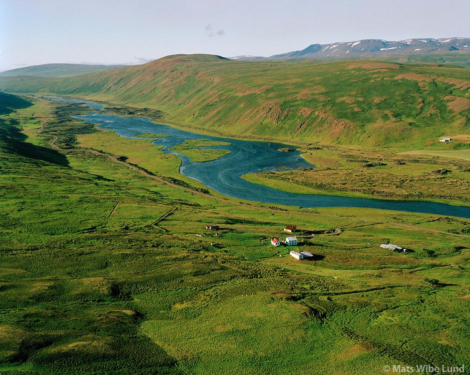 Halldórsstaðir, Laxá séð til norðurs, Þingeyjarsveit áður Reykdælahreppur / Halldorsstadir, Laxa river viewing north, Thingeyjarsveit former Reykdaelahreppur.