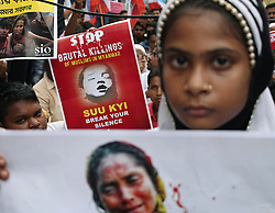 September 7, 2017 - Kolkata, West Bengal, India - Students Islamic Organization of India (SIO) supporters and activists during a peaceful protest rally and gathering against Rohingya crisis in front of Myanmar Consulate, protest demand for stop genocide of Rohingya Muslims. (Credit Image: © Sanjay Purkait/Pacific Press via ZUMA Wire)