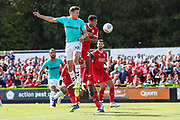 Forest Green Rovers Paul Digby(20) heads the ball during the EFL Sky Bet League 2 match between Forest Green Rovers and Swindon Town at the New Lawn, Forest Green, United Kingdom on 25 August 2018.