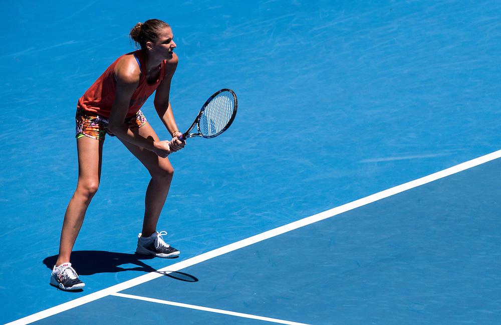 Karolina Pliskova of the Czech Republic practices ahead of the 2017 Australian Open at Melbourne Park on January 12, 2017 in Melbourne, Australia.<br /> (Ben Solomon/Tennis Australia)