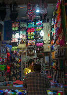 Iran, Tehran Province, Tehran, bras shop in the bazaar. In Iran, the fluffy pink bra is rather provocative. The loose-fitting head-scarves, tight overcoats and shortened trousers that expose skin are banned.