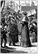 Caroline Chisholm (born Jones - 1808-1877) called 'The Emigrant's Friend' born at Wotton, Northamptonshire. Here, while resident in Australia, meeting newly arrived emigrants on the wharves at Sydney c1845.