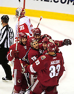 Apr 23, 2010; Glendale, AZ, USA; Phoenix Coyotes celebrate after Phoenix Coyotes defenseman Ed Jovanovski (55) scores a goal during the second period of game five in the first round of the 2010 Stanley Cup Playoffs at Jobing.com Arena.  Mandatory Credit: Jennifer Stewart-US PRESSWIRE