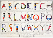 "This funny sheet sold at Colonial Williamsburg, Virginia, shows men twisting their bodies to form the letters of the alphabet: A B C D E F G H I J K L M N O P Q R S T U V W X Y Z.  ""The Comical HOTCH-POTCH, or the ALPHABET turned POSTURE-MASTER - Fellows form the Alphabet,"" artwork printed for Carington Bowles, at No. 69 St Pauls Church Yard, London."