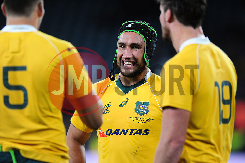 Leroy Houston of Australia is all smiles after the match - Mandatory byline: Patrick Khachfe/JMP - 07966 386802 - 08/10/2016 - RUGBY UNION - Twickenham Stadium - London, England - Argentina v Australia - The Rugby Championship.