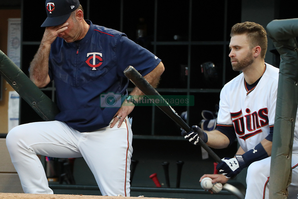 August 8, 2017 - Minneapolis, MN, USA - Minnesota Twins manger Paul Molitor and second baseman Brian Dozier, right, watch from the dugout in the second inning against the Milwaukee Brewers at Target Field in Minneapolis on Tuesday, Aug. 8, 2017. (Credit Image: © Anthony Souffle/TNS via ZUMA Wire)
