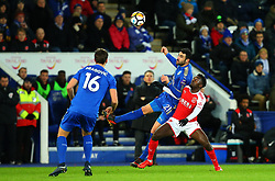 Vicente Iborra of Leicester City beats Jordy Hiwula of Fleetwood Town to a header - Mandatory by-line: Robbie Stephenson/JMP - 16/01/2018 - FOOTBALL - King Power Stadium - Leicester, England - Leicester City v Fleetwood Town - Emirates FA Cup third round proper