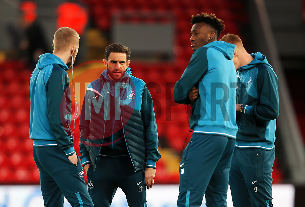 Angel Rangel of Swansea City and team mates gather on the pitch on arrival at Anfield - Mandatory by-line: Matt McNulty/JMP - 26/12/2017 - FOOTBALL - Anfield - Liverpool, England - Liverpool v Swansea City - Premier League