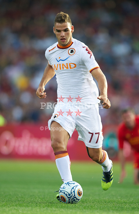 BOSTON, MA - Wednesday, July 25, 2012: AS Roma's Panagiotis Tachtsidis in action against Liverpool during a pre-season friendly match at Fenway Park, home of the Boston Red Sox, the second match of the Reds' North American tour. (Pic by David Rawcliffe/Propaganda)