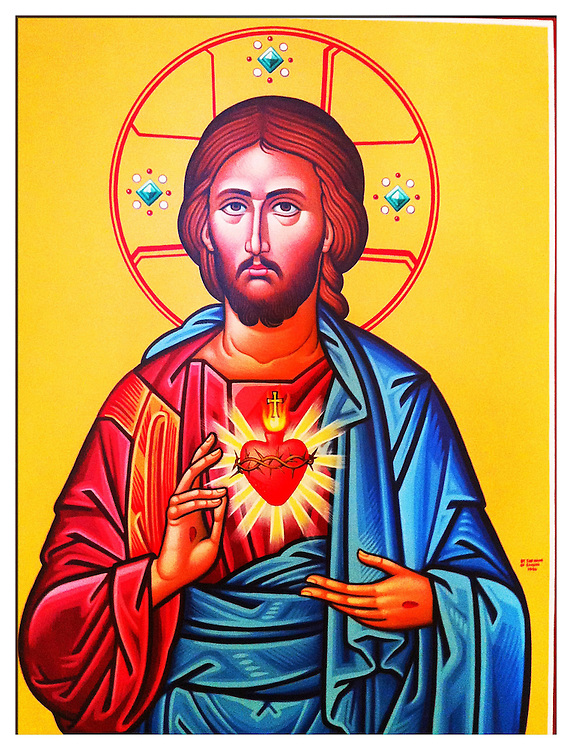 Icon of Sacred Heart of Jesus inside St. Clare Church, WInd Lake, Wis. Taken with iPhone 4, edited with PS Express app. (Sam Lucero photo)