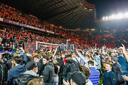 Charlton Athletic football fans, football supporters after the EFL Sky Bet League 1 second leg Play-Off match between Charlton Athletic and Doncaster Rovers at The Valley, London, England on 17 May 2019.