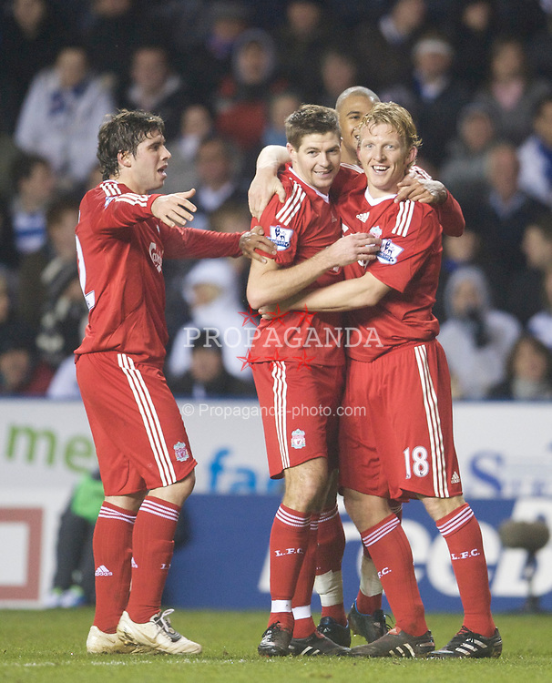 READING, ENGLAND - Saturday, January 2, 2010: Liverpool's captain Steven Gerrard MBE celebrates with Emiliano Insua, David Ngog and Dirk Kuyt after scoring an equalising goal against Reading during the FA Cup 3rd Round match at the Madejski Stadium. (Photo by: David Rawcliffe/Propaganda)