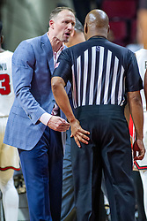 NORMAL, IL - January 07: Dan Muller works to get Antinio Petty to see his point of view on a player control foul during a college basketball game between the ISU Redbirds and the University of Missouri State Bears on January 07 2020 at Redbird Arena in Normal, IL. (Photo by Alan Look)