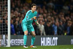 Asmir Begovic of Chelsea gives orders to his defence - Mandatory byline: Jason Brown/JMP - 02/05/2016 - FOOTBALL - London, Stamford Bridge - Chelsea v Tottenham Hotspur - Barclays Premier League