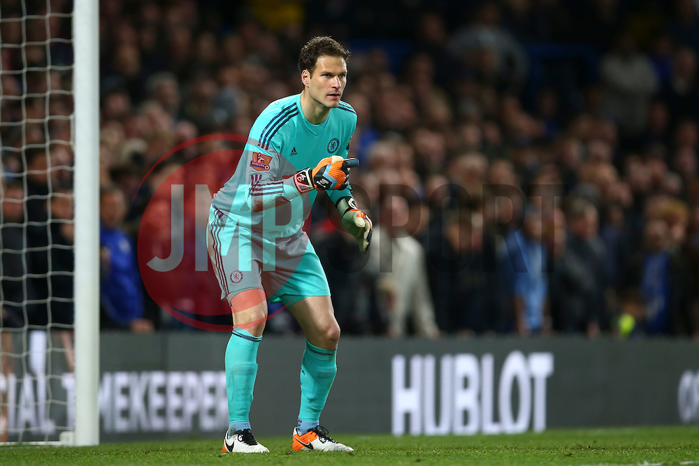 Asmir Begovic of Chelsea gives orders to his defence - Mandatory byline: Jason Brown/JMP - 02/05/2016 - FOOTBALL - London, Stamford Bridge - Chelsea v Tottenham Hotspur - Barclays Premier League