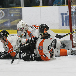 COCHRANE, ON - MAY 3: Christian James-McDonald #26 and Mathew Eardley #44 block the shot during the second period on May 3, 2019 at Tim Horton Events Centre in Cochrane, Ontario, Canada.<br /> (Photo by Tim Bates / OJHL Images)