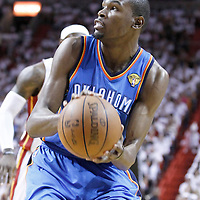 19 June 2012: Oklahoma City Thunder small forward Kevin Durant (35) eyes the basket during the first quarter of Game 4 of the 2012 NBA Finals, Thunder at Heat, at the AmericanAirlinesArena, Miami, Florida, USA.