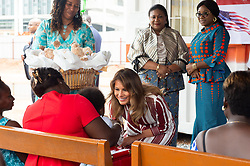 October 2, 2018 - Accra, Ghana, West Africa - First Lady Melania Trump and Rebecca Akufo-Addo, the First Lady of the Republic of Ghana meet with mothers and children Tuesday in the Child Welfare Clinic, the original wing of the Greater Accra Regional Hospital in Accra, Ghana. (Credit Image: ? Andrea Hanks/White House via ZUMA Wire/ZUMAPRESS.com)