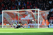 Andy Williams Penalty Goal Crashes Into The Net, Its 3-1 To Doncaster during the Sky Bet League 1 match between Doncaster Rovers and Wigan Athletic at the Keepmoat Stadium, Doncaster, England on 16 April 2016. Photo by Stephen Connor.