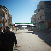 January 20, 2012 - Idleb, Syria: A Syrian revolutionary flag is displayed in central Taftanaz ahead of a anti-regime demonstration after Friday pray.