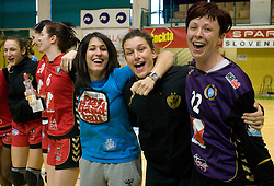 Andreja Lekic, Jelena Grubisic and Sergeja Stefanisin of Krim celebrate after the handball Slovenian cup Finals match  between RK Olimpija and RK Krim Mercator, on March 28, 2010, SD Leon Stukelj, Novo mesto, Slovenia. Krim defeated Olimpija 28-25 and became Slovenian cup Champion. (Photo by Vid Ponikvar / Sportida)