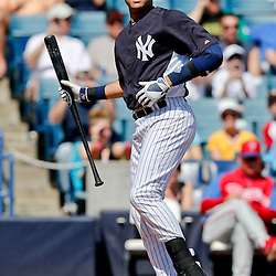 Mar 16, 2013; Tampa, FL, USA; New York Yankees shortstop Derek Jeter (2) at bat during the bottom of the first inning of a spring training game against the Philadelphia Phillies at George Steinbrenner Field. Mandatory Credit: Derick E. Hingle-USA TODAY Sports
